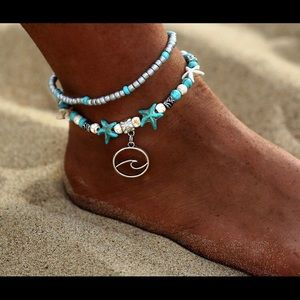 Beach anklet, Wave anklet,Surfer jewelry,🆕